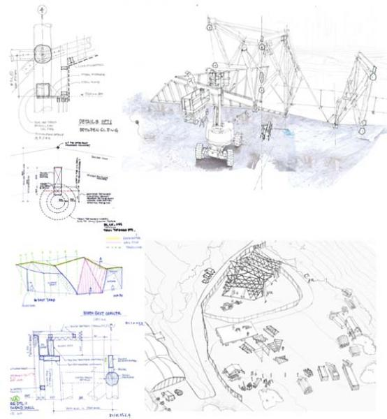 Sketches of Big Shed construction process and details by Nozomi Nakabayashi