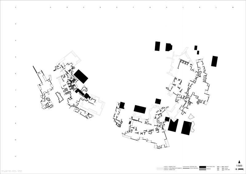 Plan shows the intersection between Troy X phase VI, representing Homeric Troy, phase VII, representing scattered settlements after the Homeric Troy is destroyed, and phase VII, representing the Greek colonisation of Troy right after.