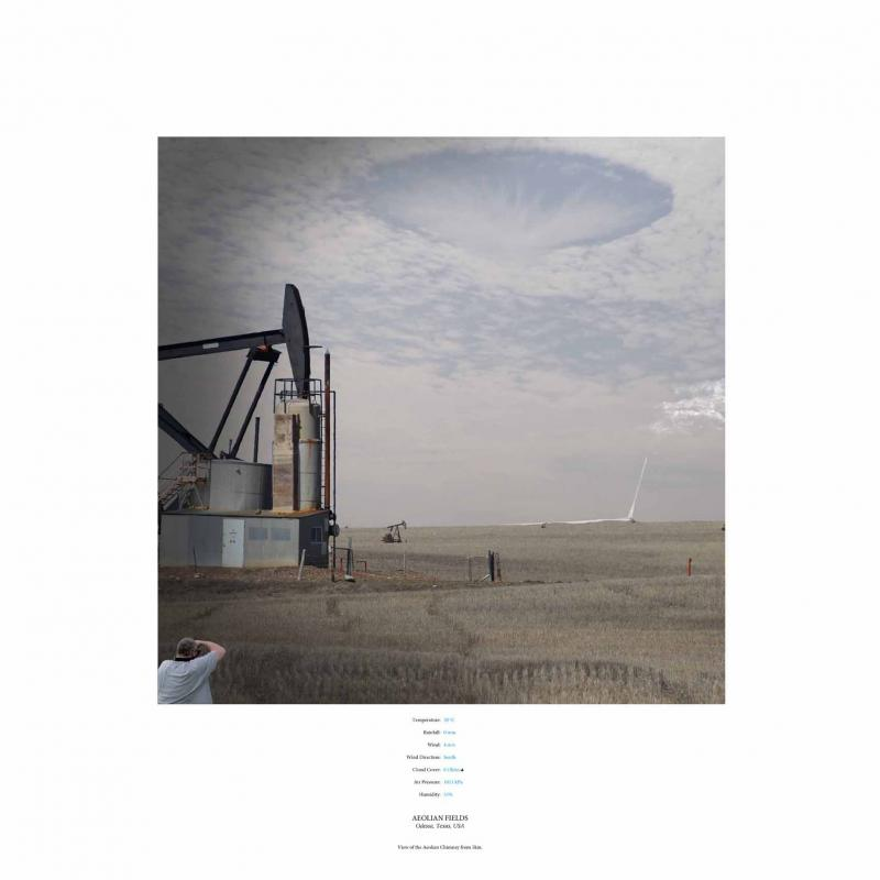 Within the silent and mechanized landscape of Odessa, Texas, a N.A.N. comes across strange cloud formations rippling through the skies above, appearing underneath the tall and almost imperceptible Aeolian Fields.