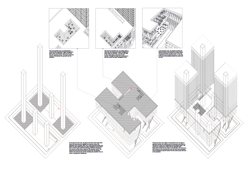 Axonometric and instances of the roof and ground