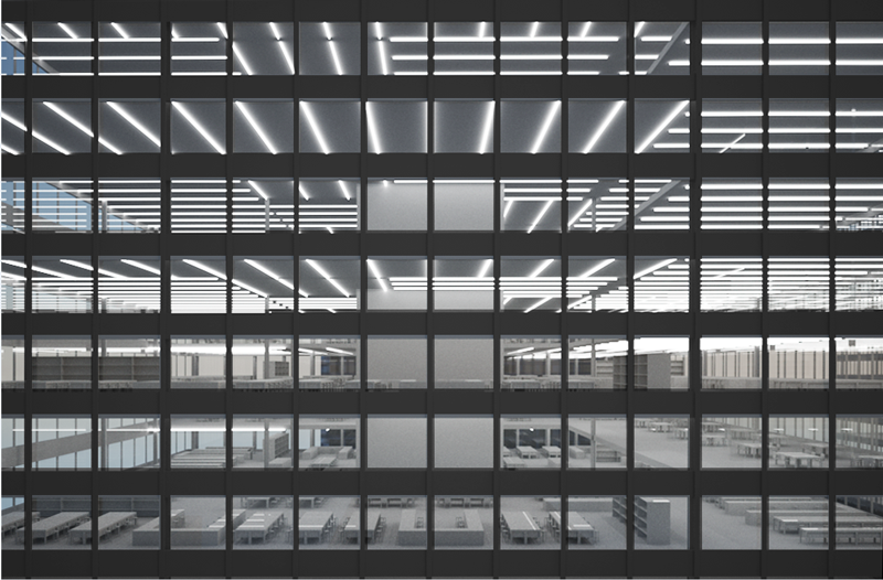 Rendered image of the 'corporate' interior taken from the outside