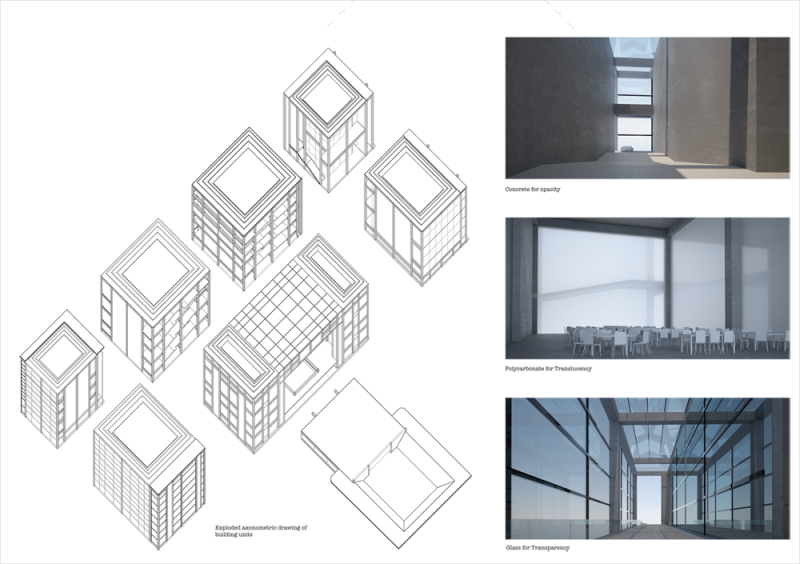 The building is made of eight units which differ through the facade surfaces for each space. The facades have a degree of transparency which highlight certain views or axes in the building, reinforcing the idea of accessibility.