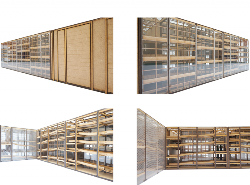Images of the model show the difference in facade conditions that show the transparency strategies.
