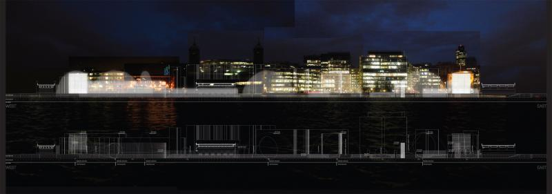 North-facing section cutting the three bridges, showing waterscreens and their different heights with the City of London as a backdrop.