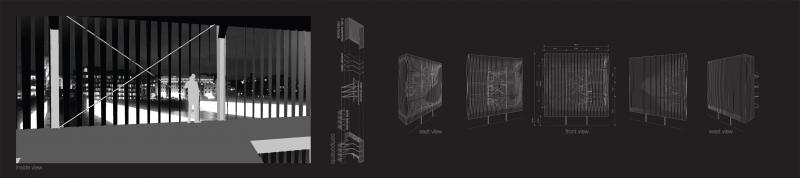 One of four Corner Buildings defining the Virtual Square. The buildings provide three functions. First, serving as connecting point between the bridges and extended banks. Second, acting as projection screen. Third, acting as viewpoint. The second and third are achieved with a facade of vertical metal strips turning in order to close the facade in one direction and open it in the other.