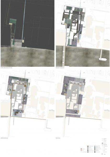 Series of site plans showing textures of vegetation, ground surfaces, and different water qualities (cleanliness, colour, reflections and textures). The purification process essentially runs in a loop from the Thames, with water running off at appropriate points of cleanliness for agricultural, industrial and residential use