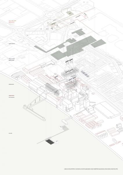 Axonometric showing excavated, added and removed (buildings, machinery, and routes)