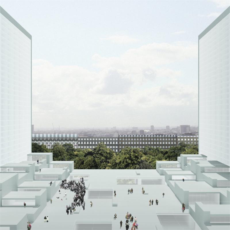 The space of communal gallery can be recognised by looking at facing tower, since the twin composition of the project allows reflected configuration of spaces. This composition creates in-between space that offers public gathering place, whilst framing the cityscape.