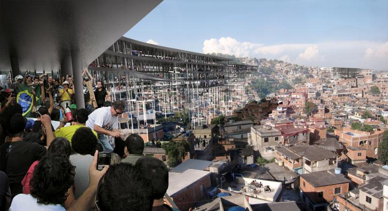 The open plan space of each strip gives it maximum flexibility in accommodating various programs which allows the infrastructure to be resistant to the changing economic demands of the favela over time. While large floor plates allow for public gatherings and other forms of community-based activities, or even to protest, that was previously impossible with the narrow streets on the ground.