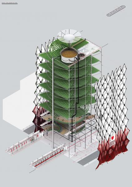 Exploded axonometric of one tower