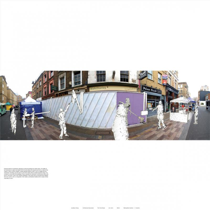 Proposition for inserting on Whitecross Street – a mechanism to inhabit a wall.