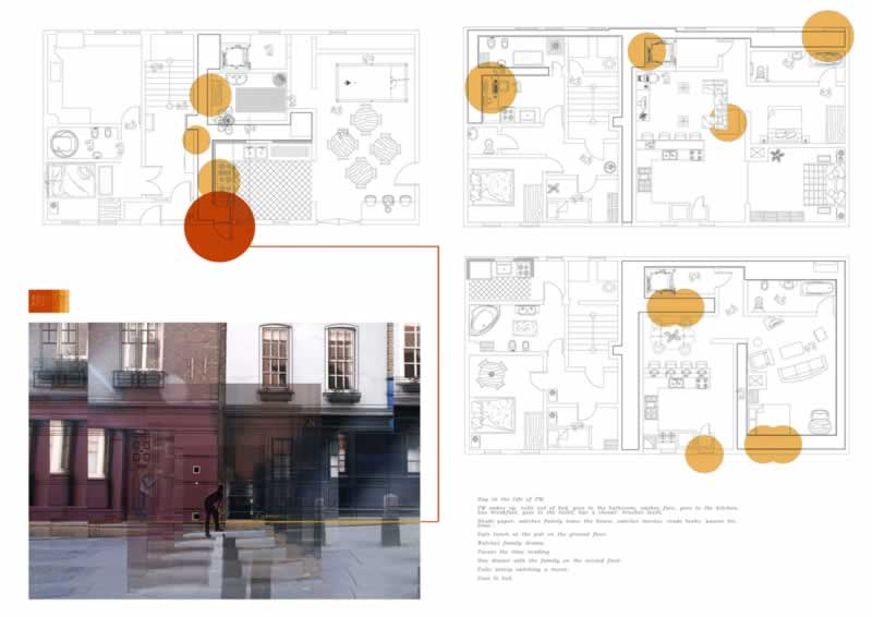 After establishing a clear area for this apartment to be fitted in, I began to plan out how this space could and would be parasitic. I mapped out in orange the areas of interaction between the Parasitic Man and the original residents of the two apartments. I looked specifically at the entrance of the space and how the Parasitic Man would enter.