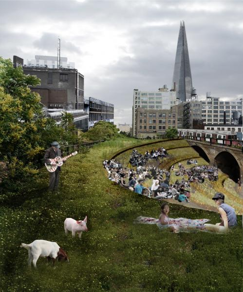 The highline would be a space for people to enjoy art and performance as well as the open petting farm located nearby at the Banking Farm.