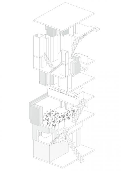 Drawing of CCT exploring how the material thickness increases relative to the increase in floors decreasing visibility and making the enclosures more private.