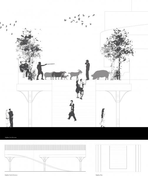 A highline connecting to the farm is proposed to create a circulation path for herding animals, as well as to expropriate the space for the public in collaboration with the Union Theatre Centre as an alternative entrance.