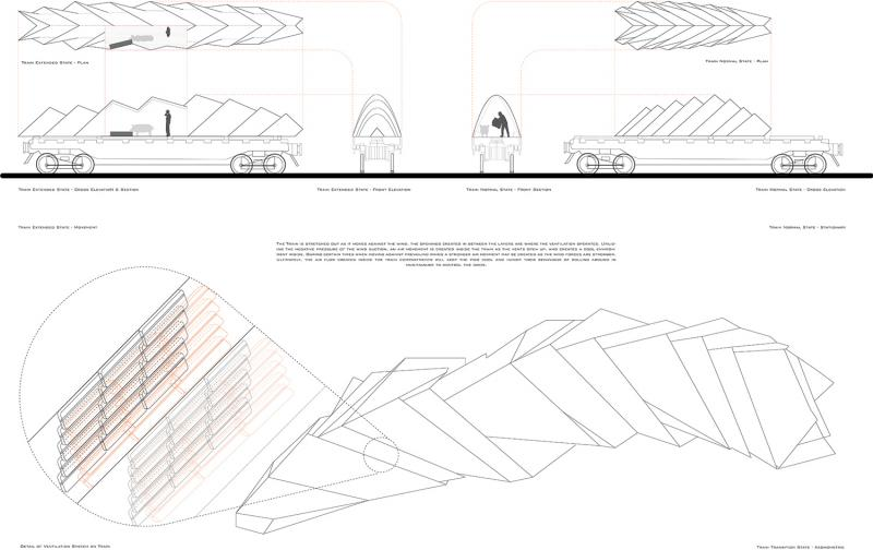 An initial proposal for the High Street Redevelopment, which fulfills the Technical Studies course requirement. A farm train which creates a self-generative air movement as the train is in motion to get rid of odors.