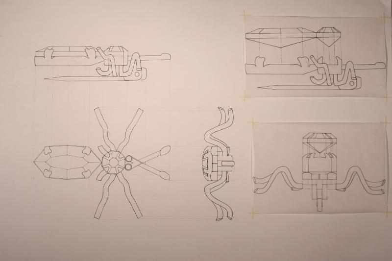 Technical drawing of the initial object, a brooch of an insect.