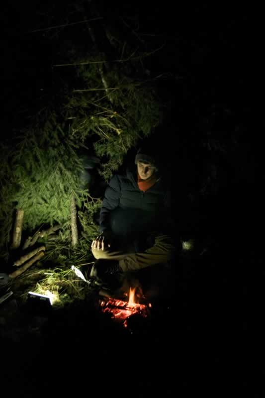 Spending a night out in the woods of Dorset in a shelter built using natural materials.