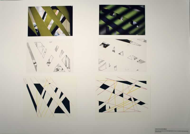 2 fine liner drawings and 2 watercolour paintings to show the abstract presentation of a fragmented vision