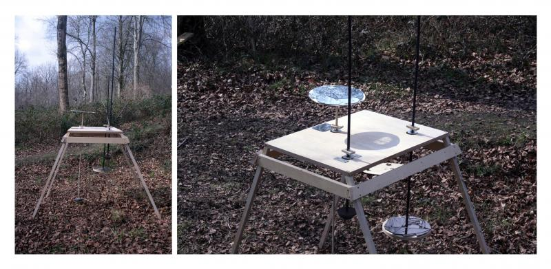 A triple mirror pendulum model, positioned in nature (scale 1:1). Each pendulum tends to make a different movement which is mainly affected from the height and weight of it. In the pendulums have been attached surfaces with broken mirrors. The 'moving mirrors' were positioned in order to create a feeling of disorientation to the observer.