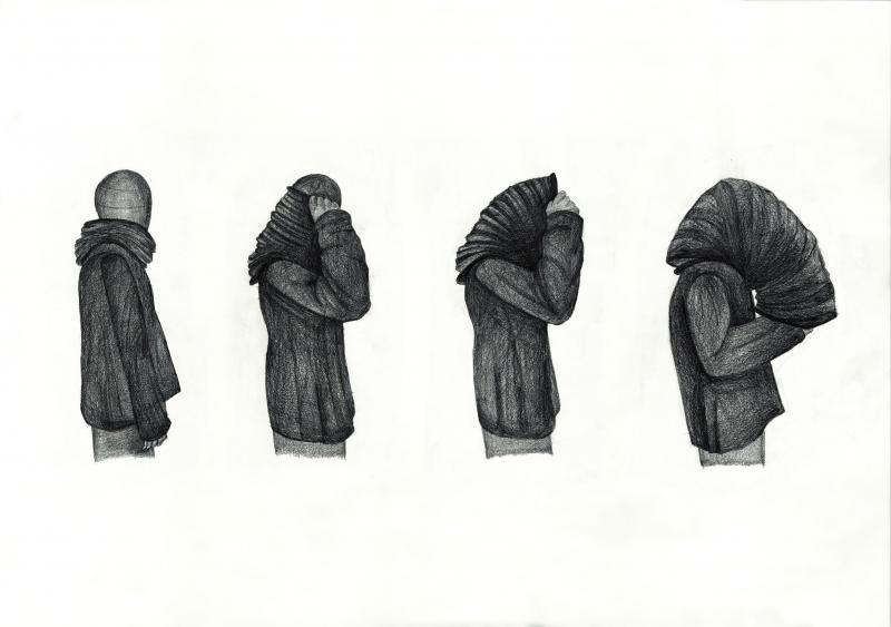 Freehand drawing of different phases of a technological garment, which was designed in order to show the isolation which is caused nowadays by technological dominance in human life.
