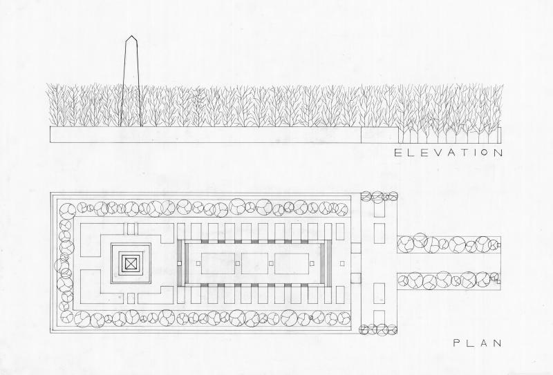 A technical drawing (scale 1:500) that shows the elevation and the plan of a memorial park in Berlin, which was a site chosen from a specific movie (The Lives of Others)