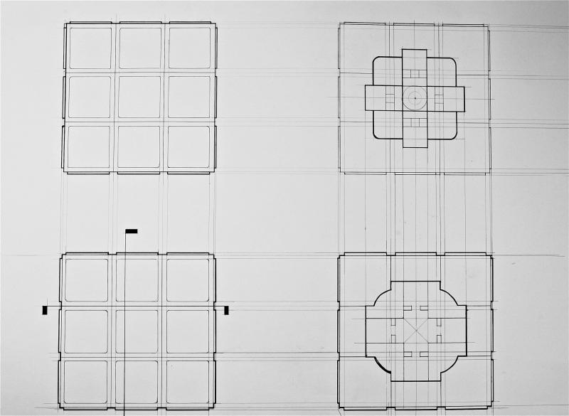 Technical drawing of a Rubik's Cube.