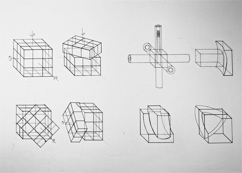 Technical Drawing of the movement and components of the Rubik's Cube.