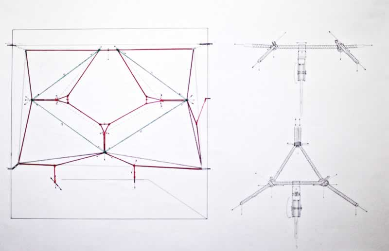 Drawing of the Third Space Installation with knots and tension points