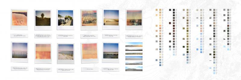 Archive of various elements and colour palette present at the Salton Sea. Dynamic moments where the land salt and water merge, where derelict trailers have the best views of the landscape, where structures float on land and lead to no particular direction: A miracle in the desert where the American dream rots in a serene and beautiful landscape inundated the brutal reality and by millions of dead fish.