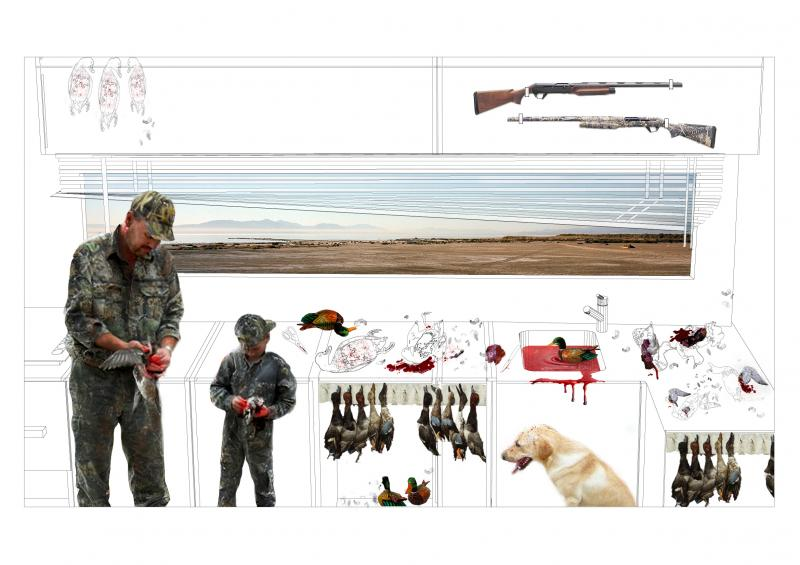 Relationship between the brutality of the duck skinning and plucking after the hunt, versus the hunters' view of the serene Salton Sea landscape.
