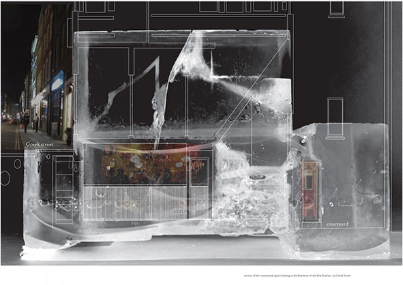 A resin model to describe the narrow transitional spaces leading to the access of the basement bar and its courtyard.