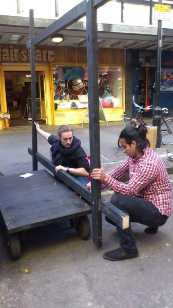 Designing Omar's new wooden falafel stall in Berwick Street, with timber that we found in local skips and building sites.