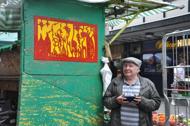 Alec has been on the market for over fifty years and holds a fruit and veg stall. One of my shadow scenes was translated into Alec's famous saying;