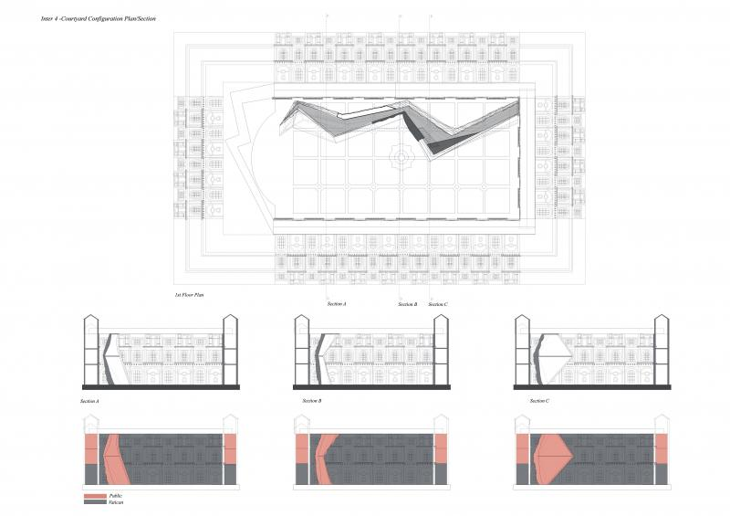 Bramante courtyard, reconfiguration plan/section