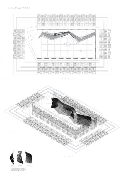 Bramante courtyard, reconfiguration plan/wall detail