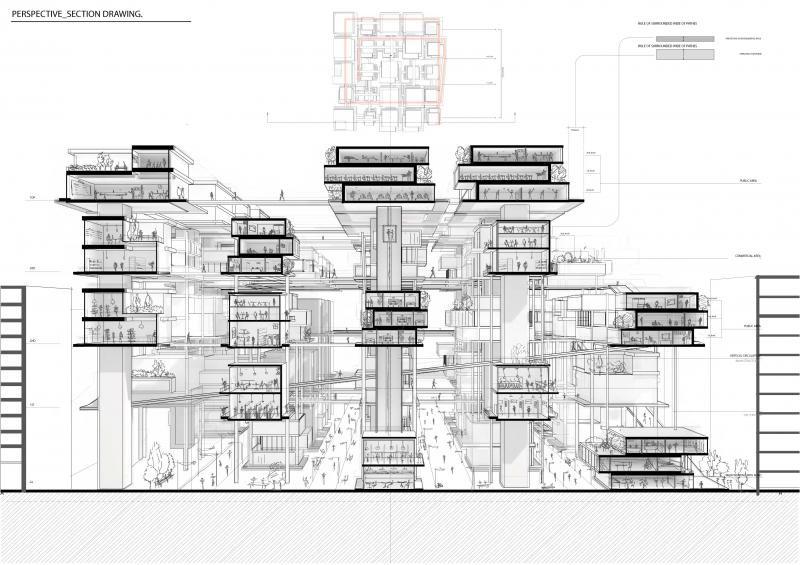 The drawing shows different activities of each program zone in the housing unit.
