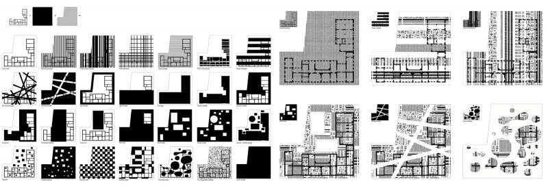 Options of diagrammatic organisation of density vs voids in a scale of a building: bands, patch, clusters etc.