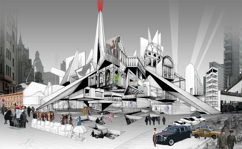 The view of the project from Arbat Square in a 180-degree perspectival drawing.