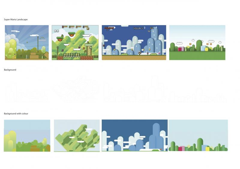 Looking at background scenes from Super Mario