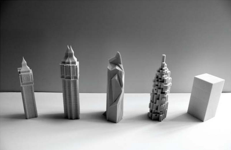 A series of models representing the ideas developed by distorting Big Ben through it's representational imagery.