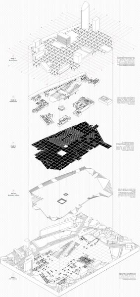 An axonometric drawing of the five rules of an urban room: