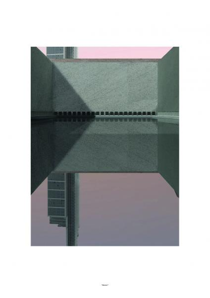 The inner-most space is a body of water, serving no specific functional purposes other than to provide a space of contemplation. Within the reflection of the water, the higher the skyscrapers go in reality, the deeper they fall.