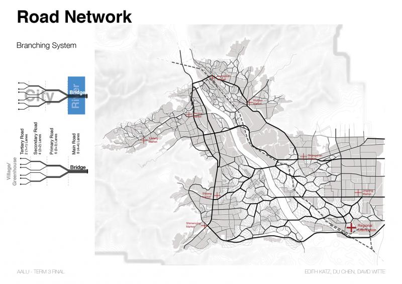 The limited crossings over the river resulted in a road network that incorporated a branching strategy as well as taking into account the adjacent density of the existing urban fabric.