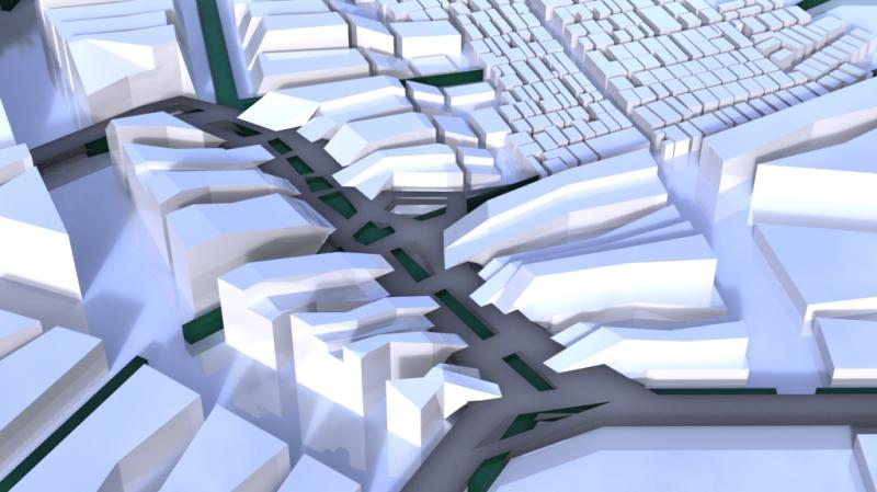 View showing integration of urban development, forest and second skin