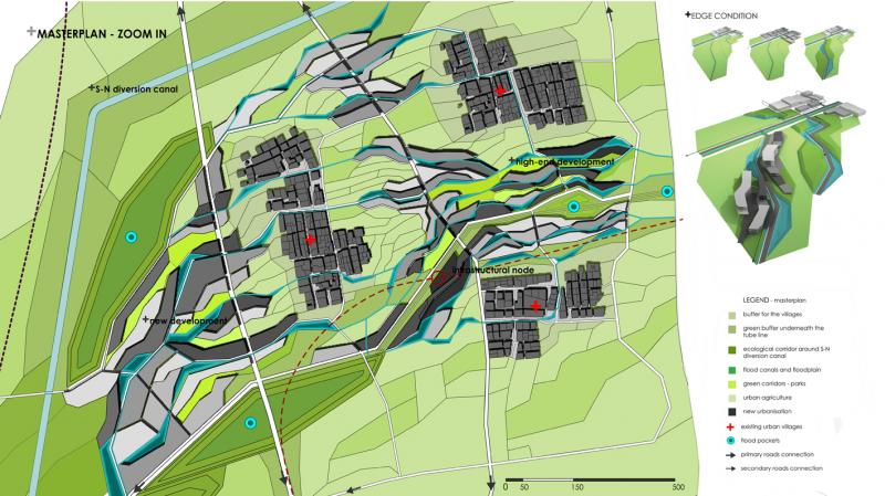 Selected area for zoom in, include a configuration proposal of one branch of the bigger masterplan. Important part in the new urbanisation play existing urban villages, where different edge conditions are investigated; a stitch between existing and new urban fabric.