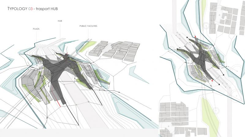 One of typologies for the new masterplan: infrastructural node with transport hub.